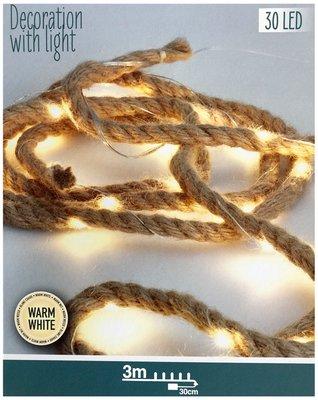4 stuks Jute touw met ledverlichting - 3 meter *6TH*